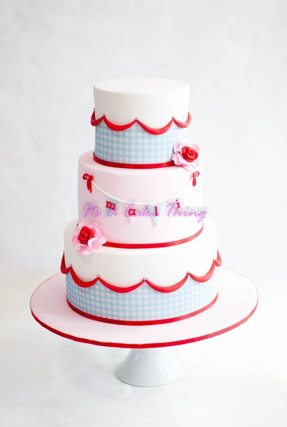 Baby Blue Gingham Red Trim Birthday Cake Birthday Cakes