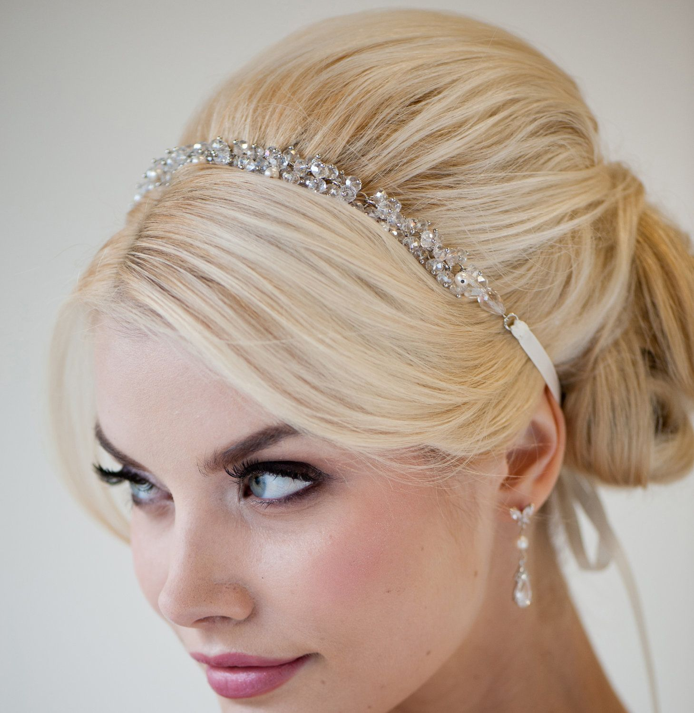 bridal ribbon headband, bridal hair accessory, beaded ribbon