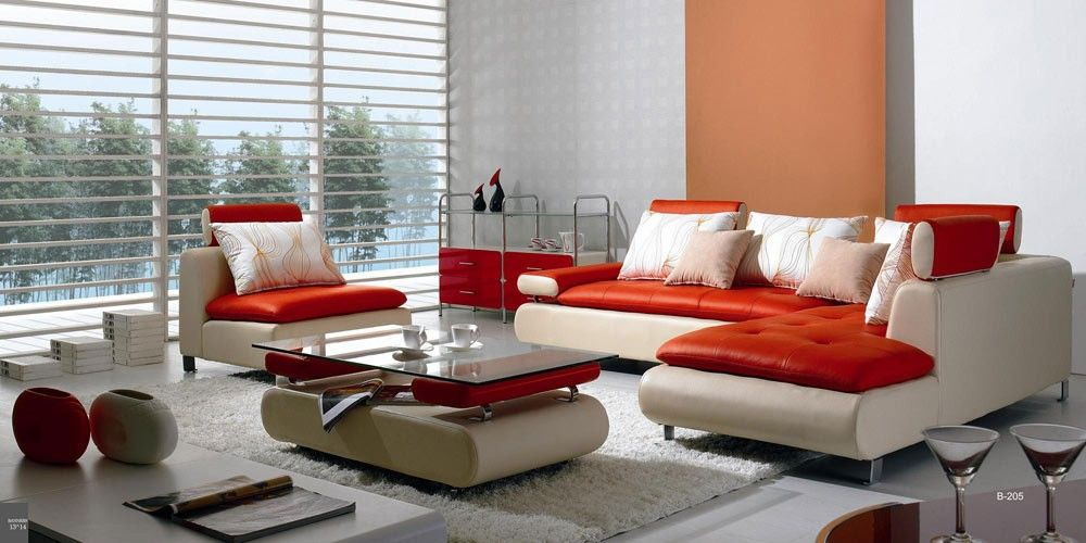 B 205 Modern Red and White Leather Sectional Sofa Set