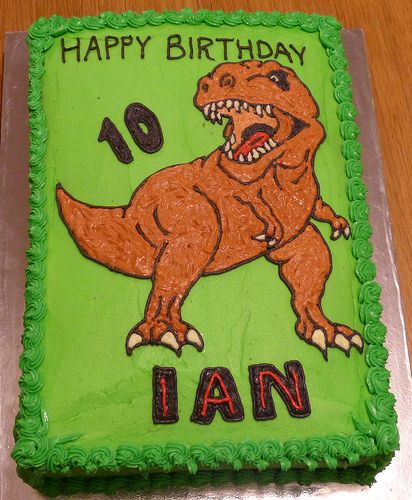 Red T Rex birthday cake template fits 9 circular cake tin