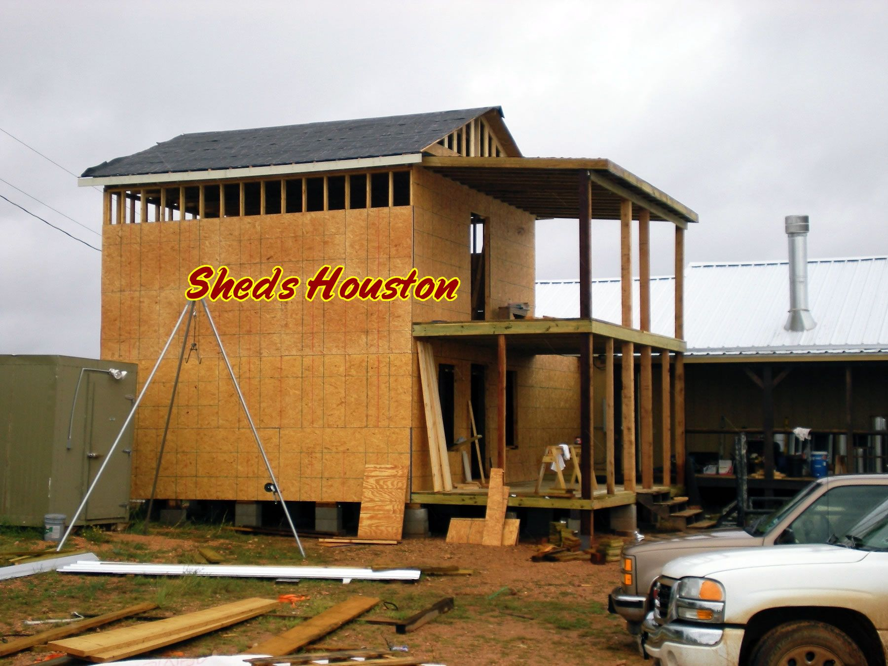 2 story shed 009 sheds houston porch installation balcony for Two story storage building plans