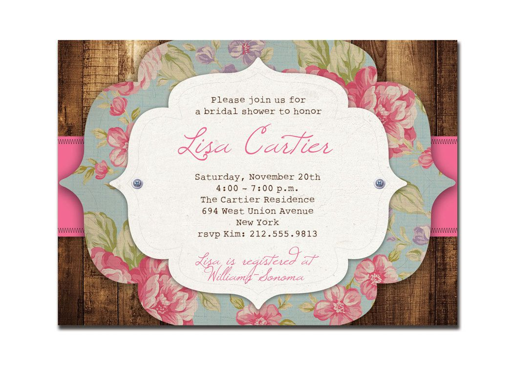 Rustic Bridal Shower Invitation Rose Baby Shower Rustic Wedding