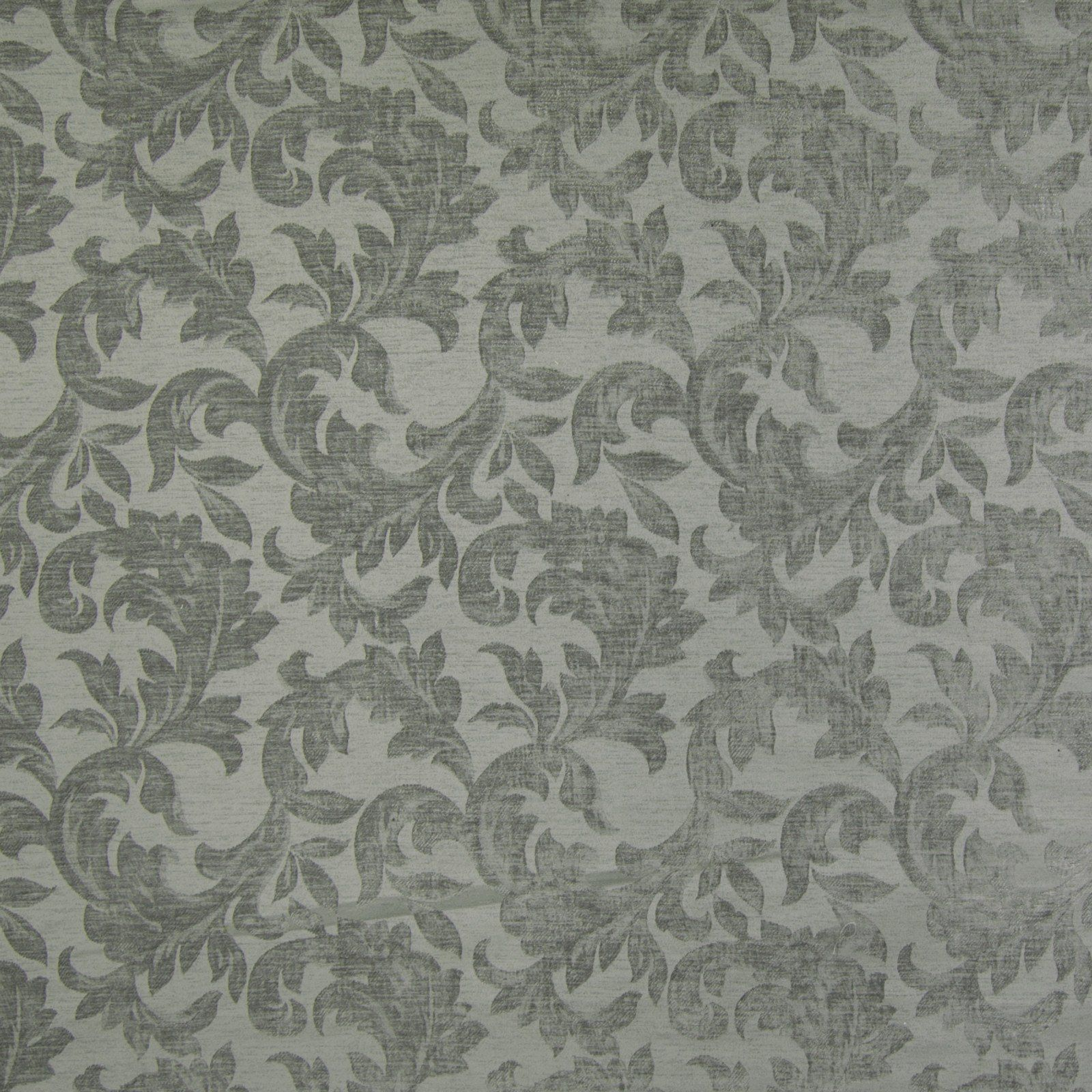 Slate Blue Gray Floral Foliage Print Upholstery Fabric