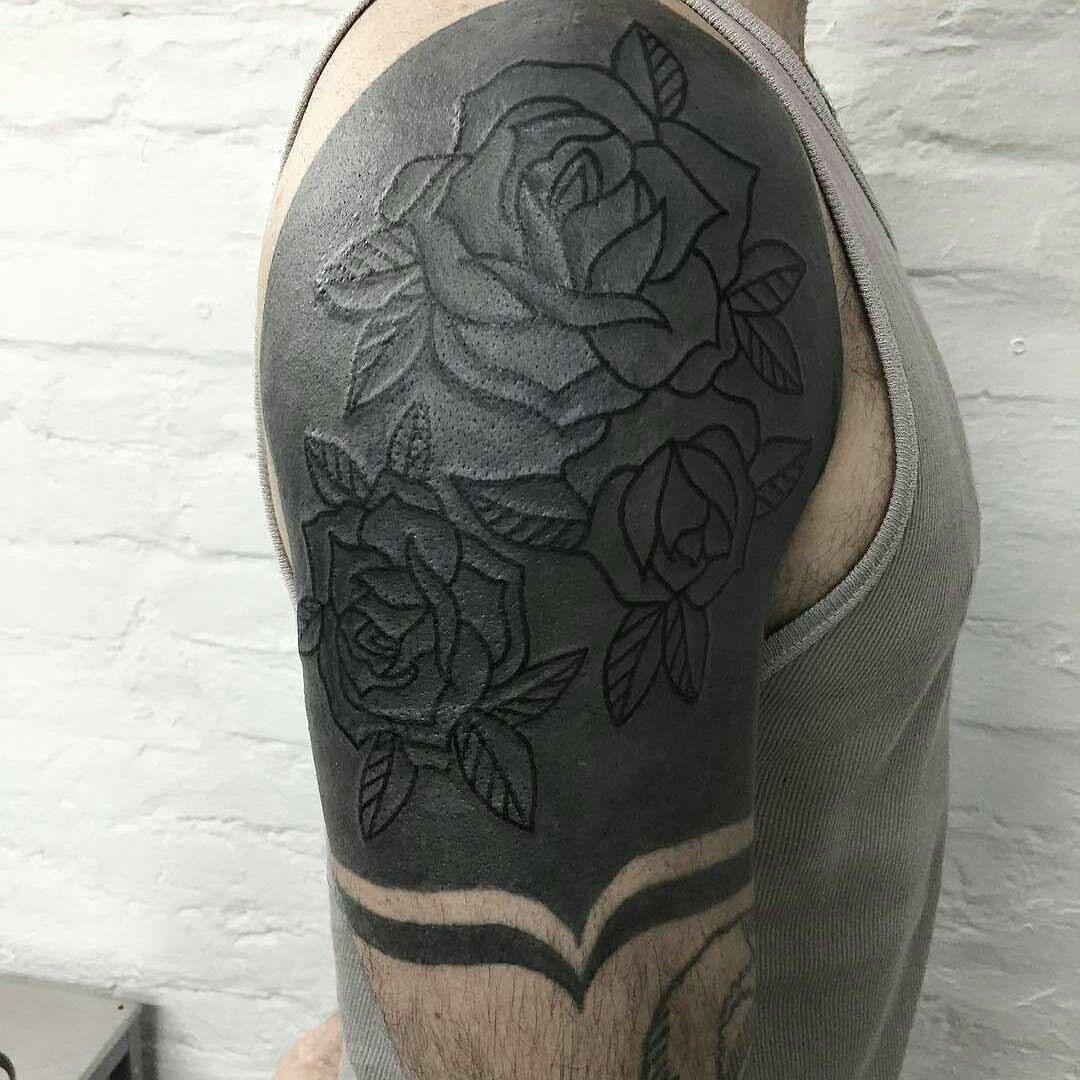 Black On Black Is Also A Fun Idea Then I Can Keep The Original Tattoo Mens Shoulder Tattoo Black Tattoo Cover Up All Black Tattoos