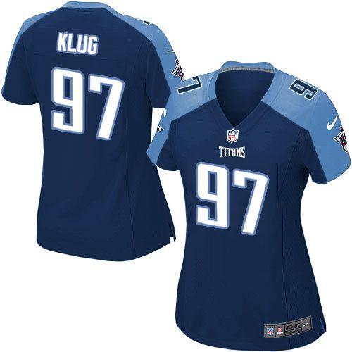 Women Nike Tennessee Titans #97 Karl Klug Elite Navy Blue Alternate NFL Jersey Sale