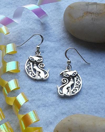 moonbeam cat sterling silver earrings