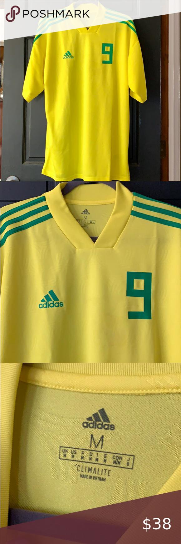 Adidas Brazil 9 soccer jersey medium | Soccer jersey, Adidas ...