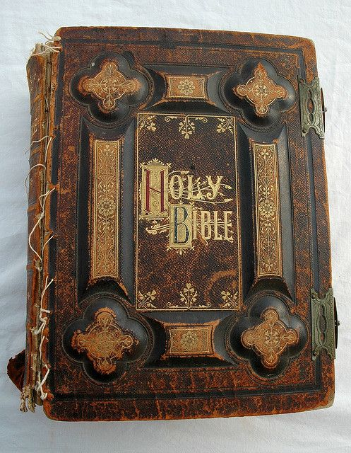 Holy Bible, dated 1885, antique gold lettering, leather and ...