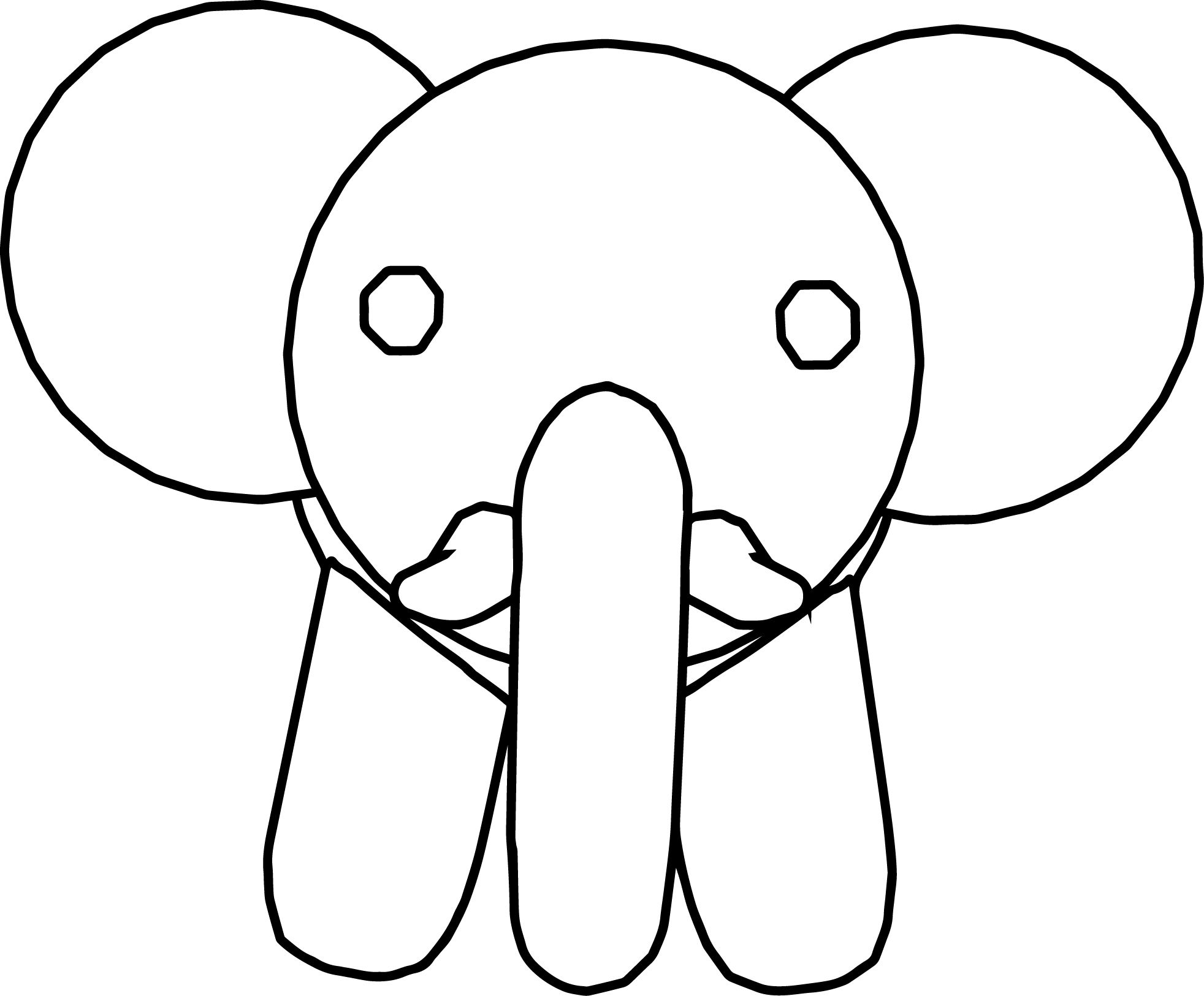 Awesome Elephant Face Front View Coloring Page Atividades Para