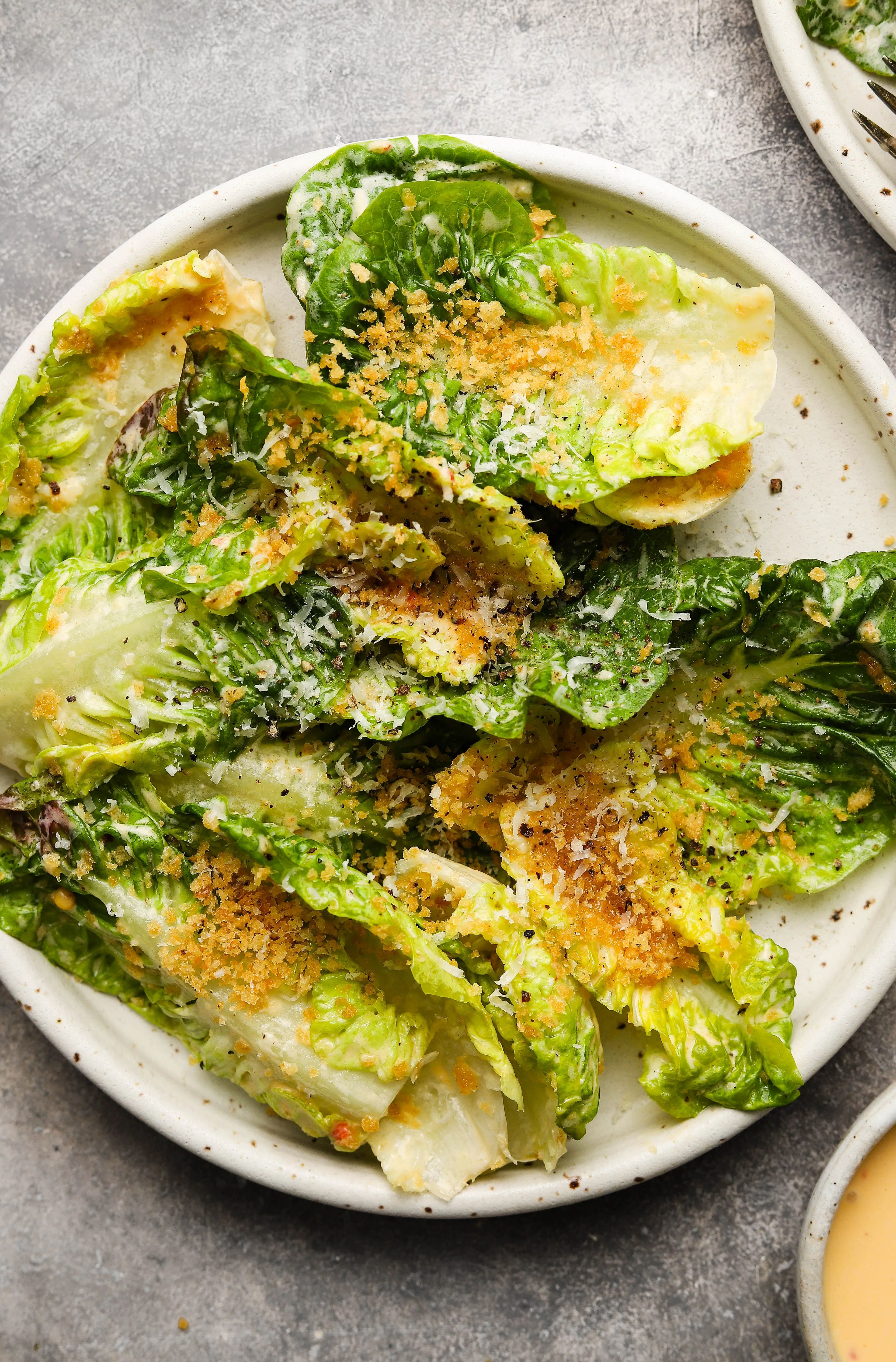 Little Gem Caesar Salad With Panko Breadcrumbs Recipe In 2020 Caesar Salad Delicious Healthy Recipes Stuffed Peppers