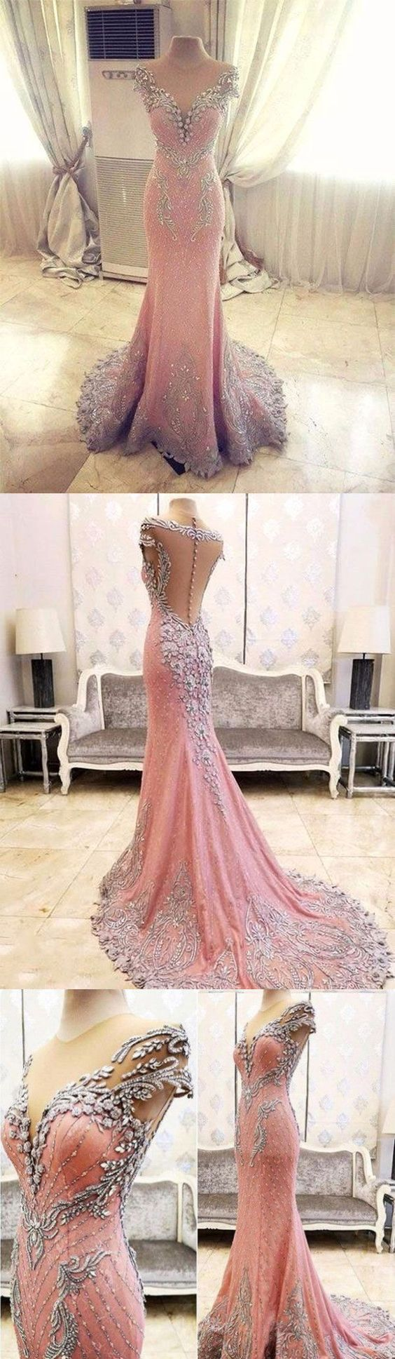 Luxury prom dressmermaid prom dressbackless prom dressfashion