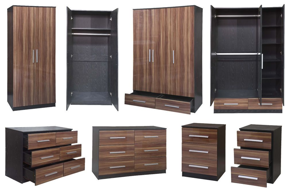 Lotus Super High Gloss Walnut Black Modular Bedroom Furniture