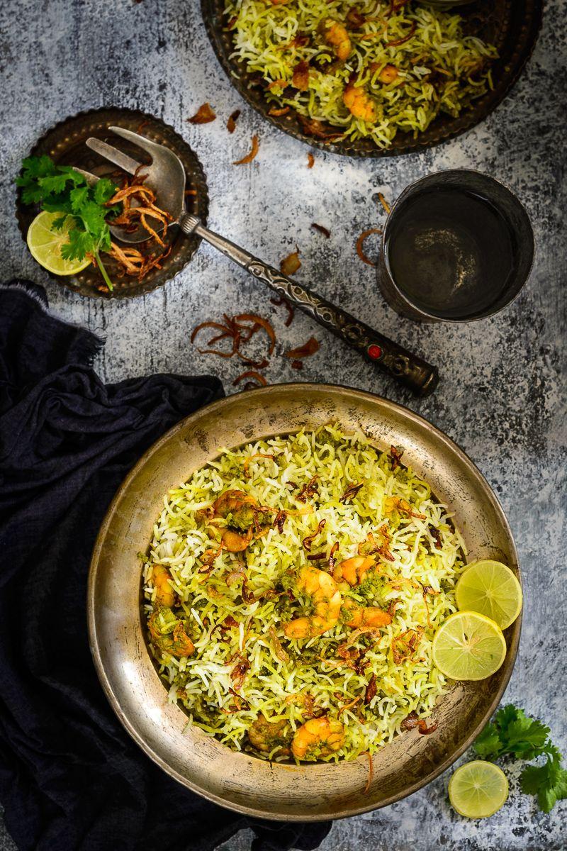 +Hariyali+Jheenga+Biryani+or+Prawn+Biryani+is+rich,+intensely+flavorful+and+very+elaborate+dish+made+in+green+masala.
