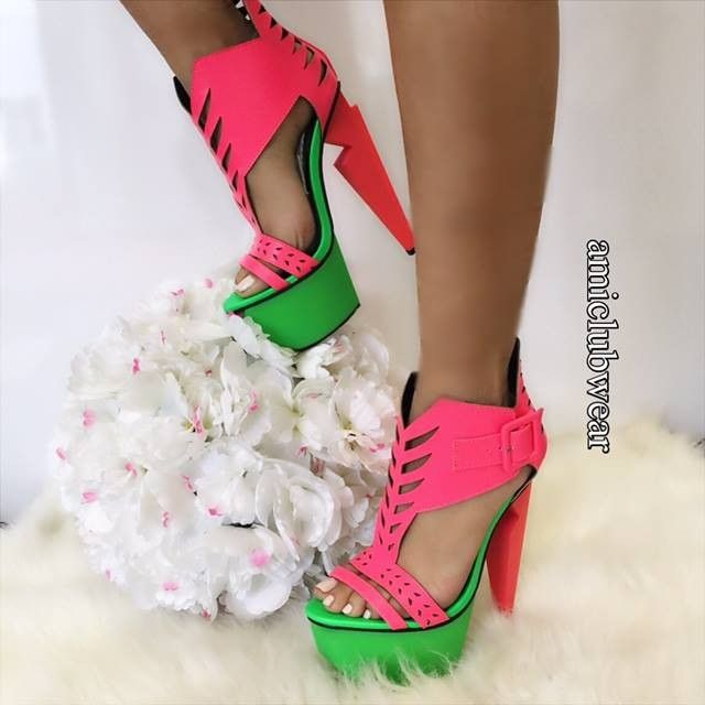 Neon Coral Carved Platform High Heels Faux Leather