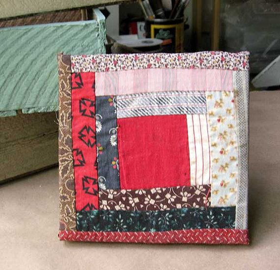 Wall Art with Antique Log Cabin  Quilt Square, 6 Inch Size. Old Calico Prints in Reds, Earth Tones