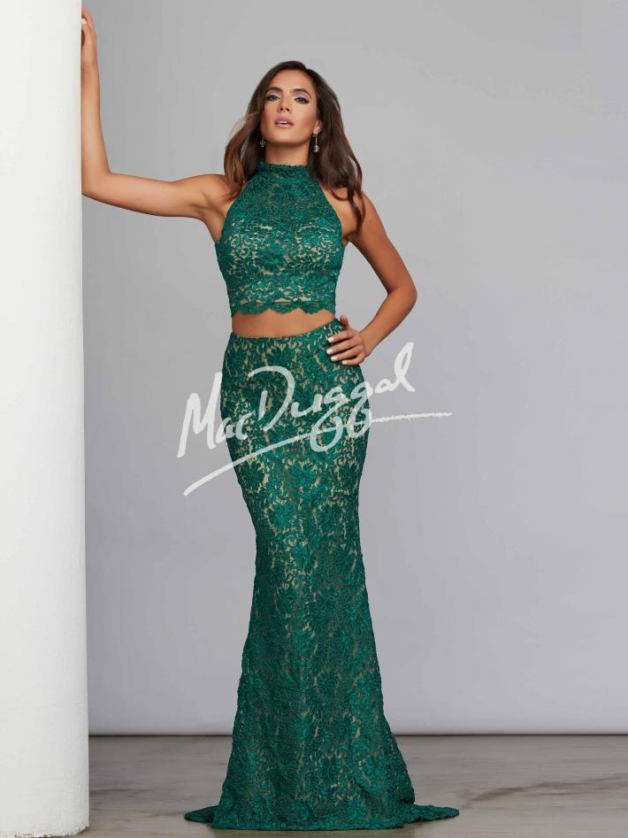 Lace Two Piece Dress Emerald Green Dress Mac Duggal 61848c