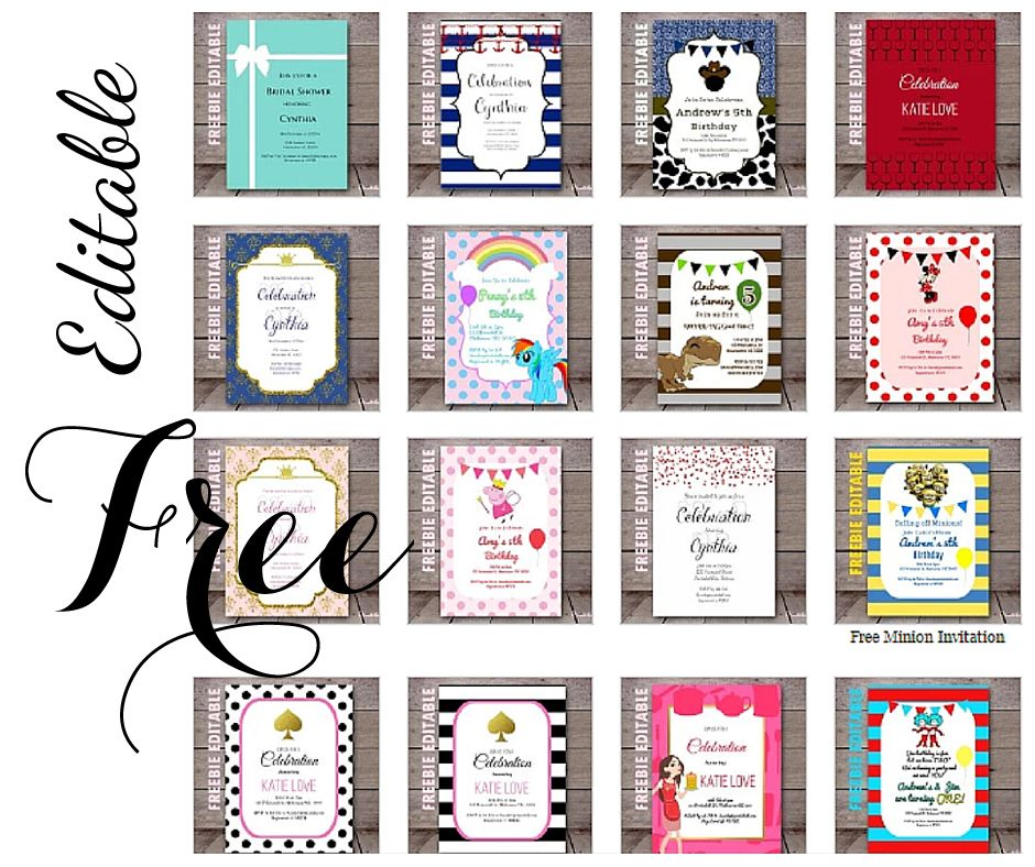 free editable birthday invitations in 2018 crafts pinterest