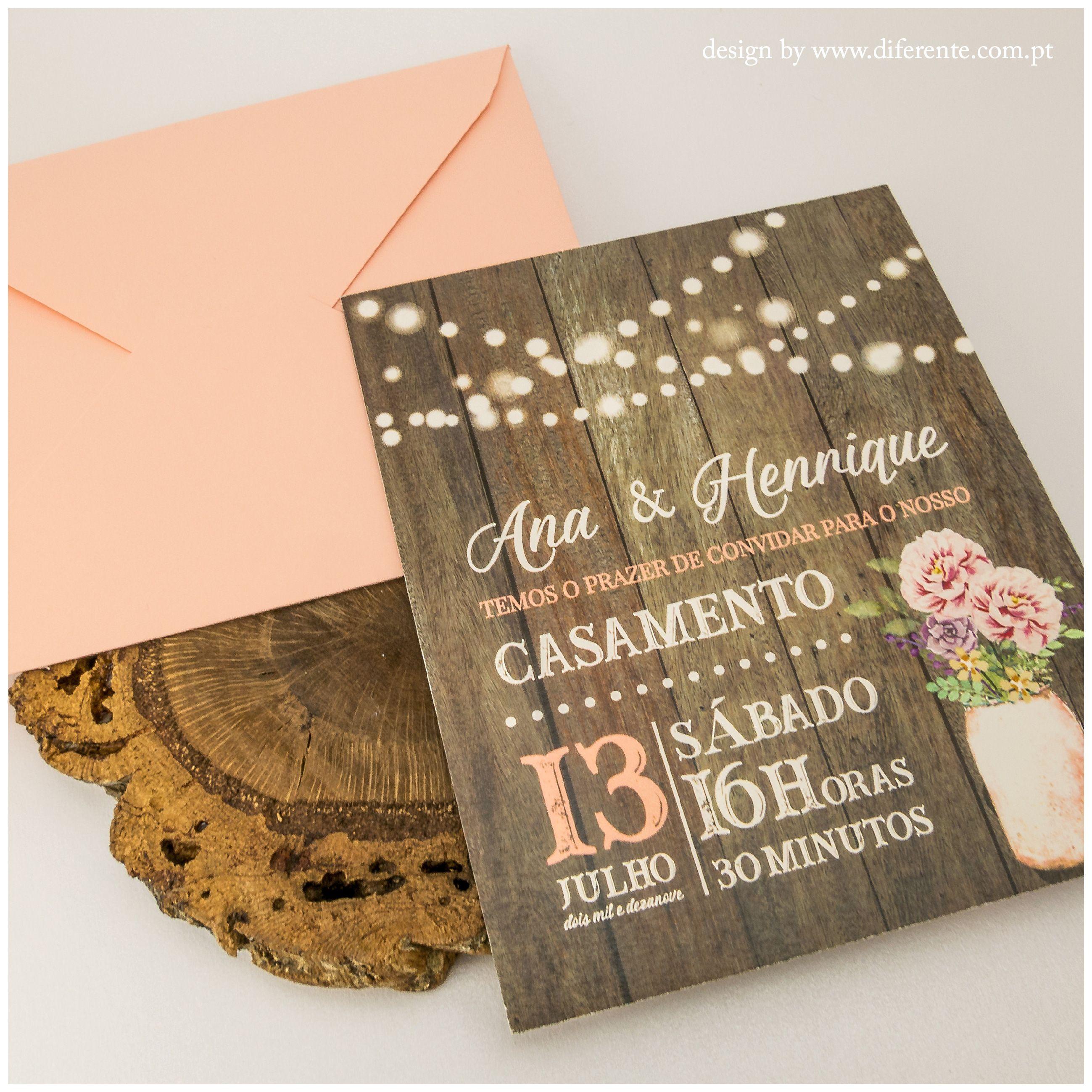Convite De Casamento Pink Wood Surpreenda Os Seus Convidados Com