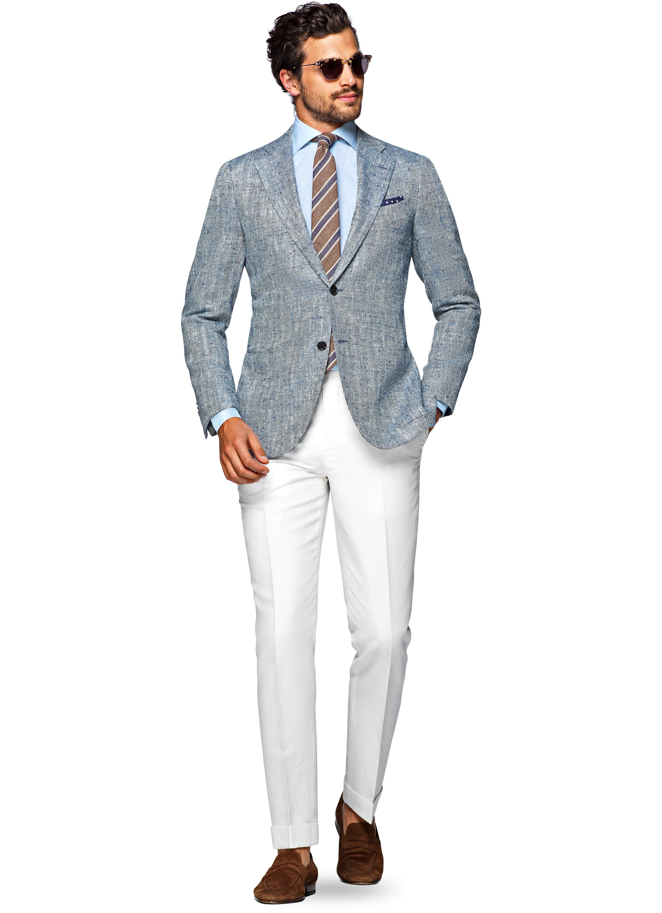 Welp Jort Off White Fishtail Trousers B460i   Suitsupply Online Store RF-14