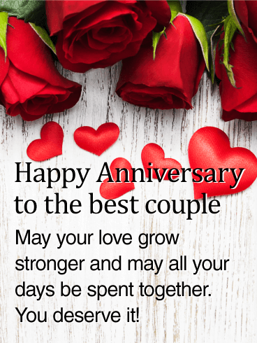 To the Best Couple Rose Happy Anniversary Card This anniversary