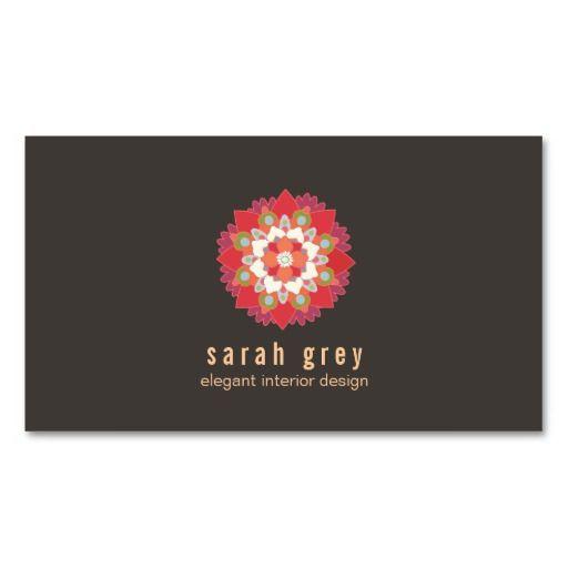 Chic Interior Design Lotus Flower Business Card