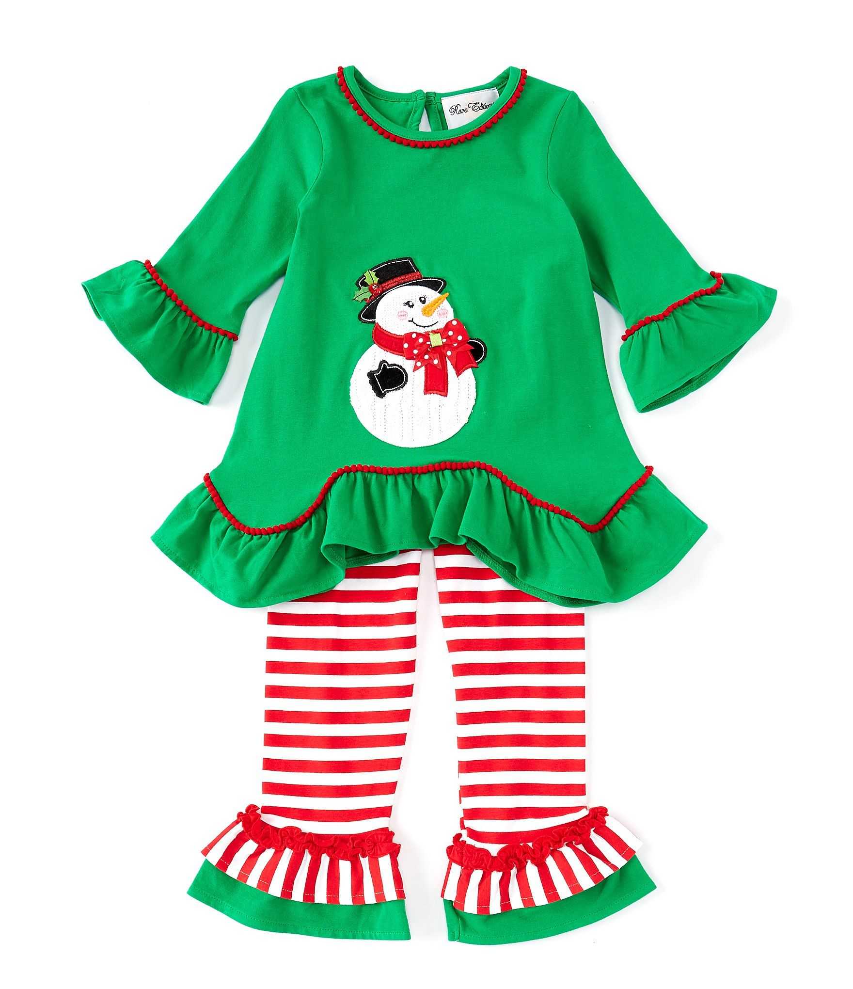 Rare Editions Little Girls 2T-6X Christmas Snowman Tunic Top  Striped Leggings Set - Green 6X #stripedleggings