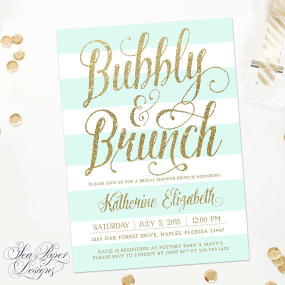 Brunch and bubbly invitation bridal shower champagne mimosa bubbly brunch bridal shower invitation mint green and white stripes and gold glitter filmwisefo