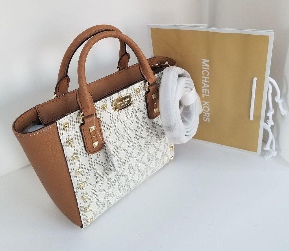 a537b8982a2e Michael Kors Sandrine Stud Acorn Sm Crossbody Leather bag Vanilla # MichaelKors #Crossbody