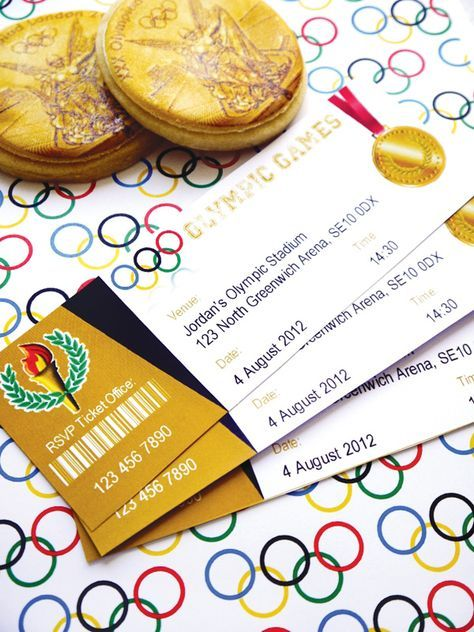 Sporty Gold Olympics Party Theme Einladung Kindergeburtstag