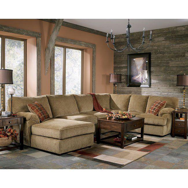 Ashley Furniture No Interest: Bartlett - Caramel Sectional Living Room Set