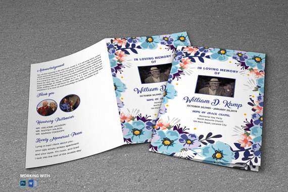 Printable Flower Funeral Program Template - Funeral Program - download brochure templates for microsoft word
