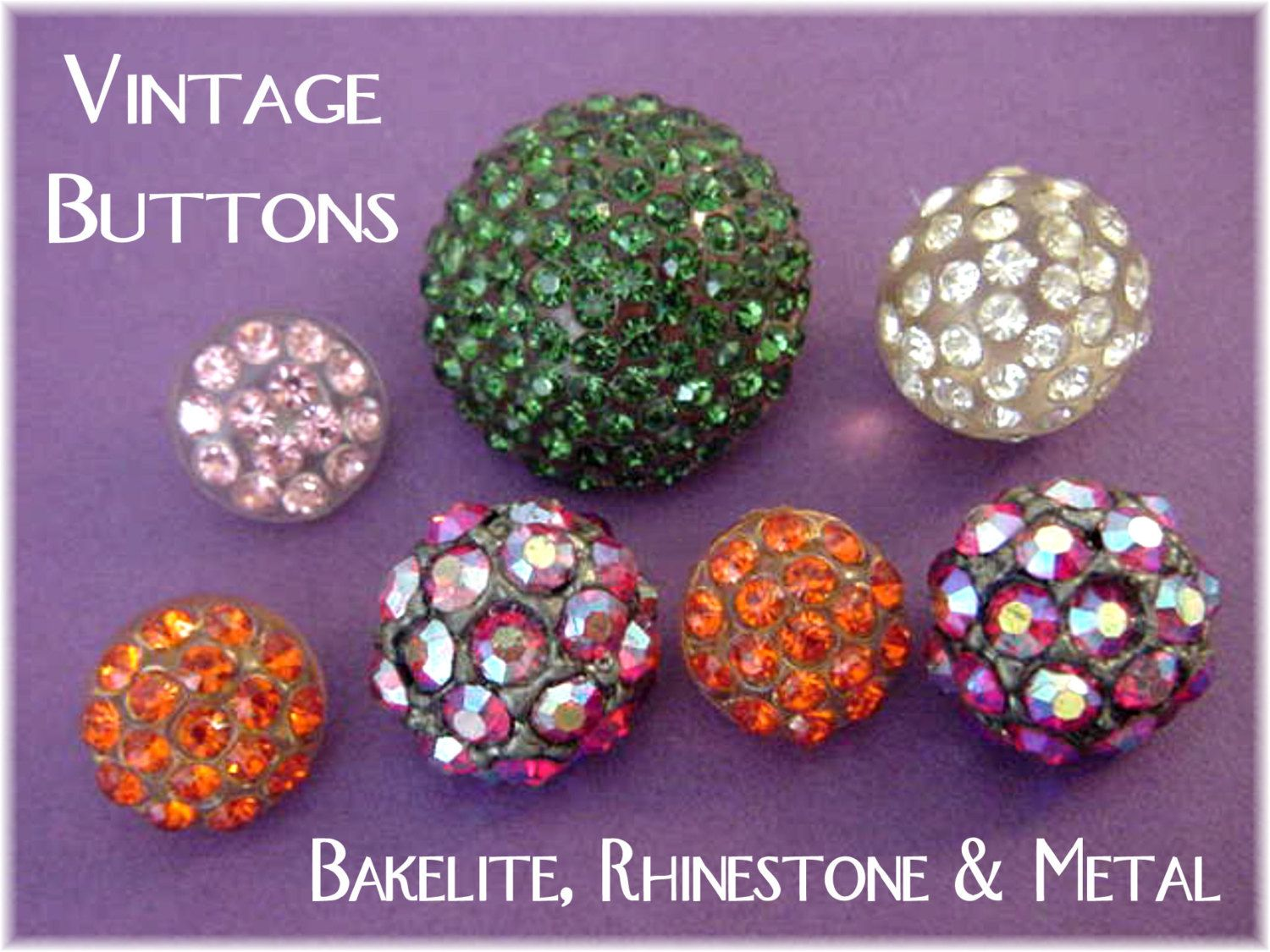 Antique Rhinestone Buttons - Bakelite Lucite Metal - Vintage Pennsylvania Estate Treasure - Green Iridescent Red Orange Pink - FREE SHIPPING