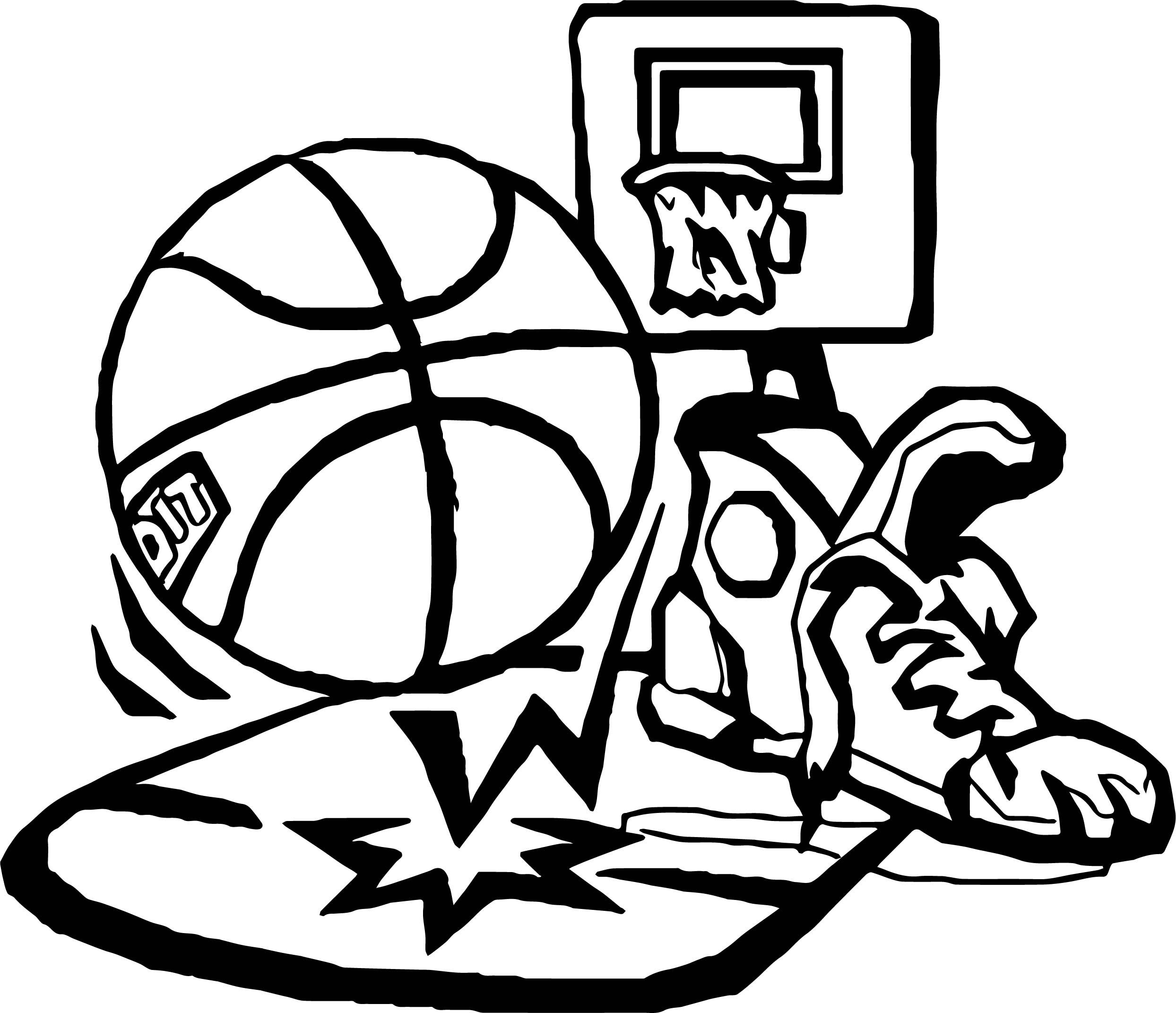 Awesome Playing Basketball Set Coloring Page