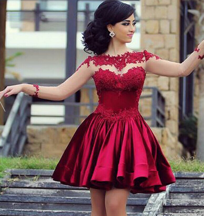 Illusion Burgundy Homecoming Dresseslong Sleeves Lace Formal Dress