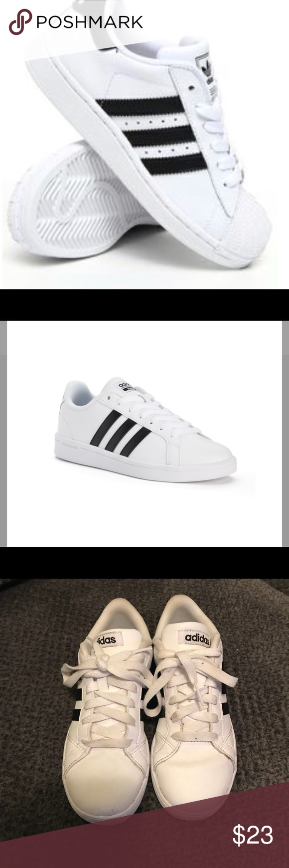 buy popular dcf8c 0bc9c Girls Adidas Neo white and black tennis shoes Girls Adidas Girls Neo  Baseline Tennis Shoes. EUC , my daughter only worn a few times, she out  grew them.