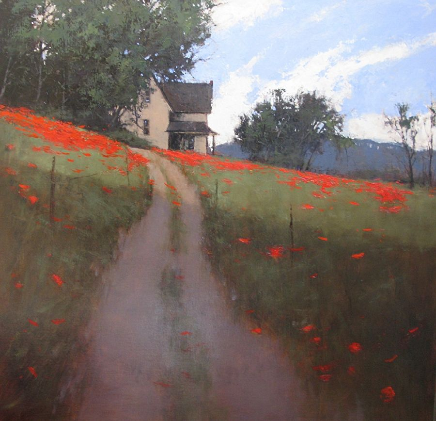 Hillside Poppies by Romona Youngquist Oil ~ 40 x 40