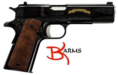 "FREE SHIPPING to CONUS! Remington Firearms 96372 1911 R1 200th Anniversary Single/Double 45 ACP 5.0"" 7+1 Walnut Grip Black.   The Remington Firearms 1911 R1 200th Anniversary pistol has a luxurious 24 Karat gold inlay, along with a 5 inch forged barrel. Also featuring C-grade walnut wood grips, the 1911 has a 7+1 capacity and is chambered in .45 ACP.   SPECIFICATIONS: Mfg Item Num: 96372. Type :Pistol. Action :Single/Double. Caliber :45 Automatic Colt Pistol (ACP). Barrel Lengt..."