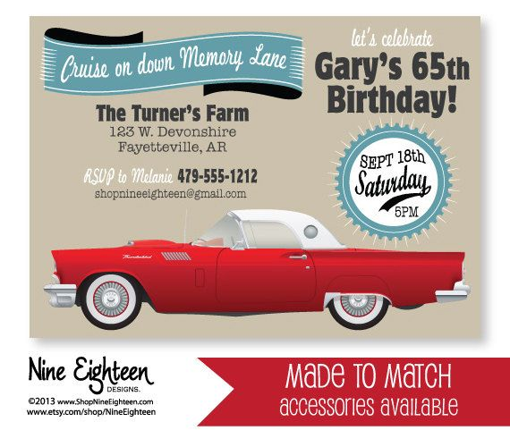Classic Car Birthday Party INVITATION Red 57 Thunderbird Custom – Car Party Invitations