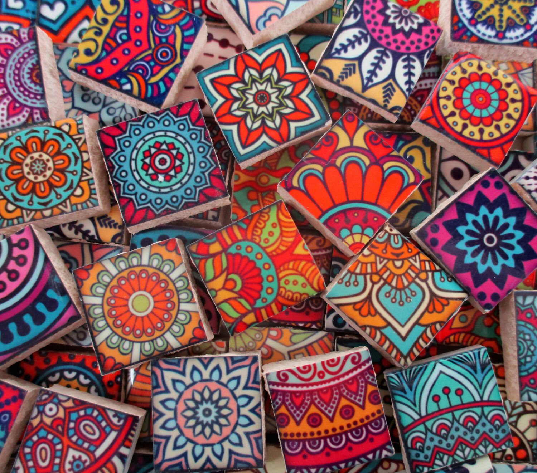 Ceramic mosaic tiles moroccan boho tile medallions mosaic tile 60 ceramic mosaic tiles moroccan boho tile medallions mosaic tile 60 pieces bright colors for mosaic art mixed media artjewelry dailygadgetfo Gallery