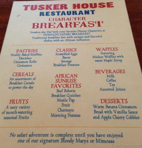 Tusker House Donalds Safari Breakfast Menu Disney