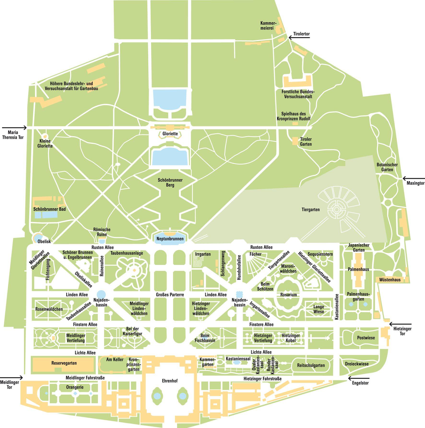 Wien übersichtsplan Schlosspark Schönbrunn Im Jahre 1996 wurden das Schloss Schönbrunn und seine Gärten von der UNESCO zum Weltkulturerbe erklärt
