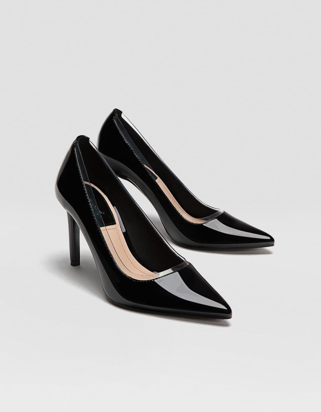 5ce2bb2add5e2 Black vinyl stiletto heel court shoes - Heel shoes | Stradivarius Thailand