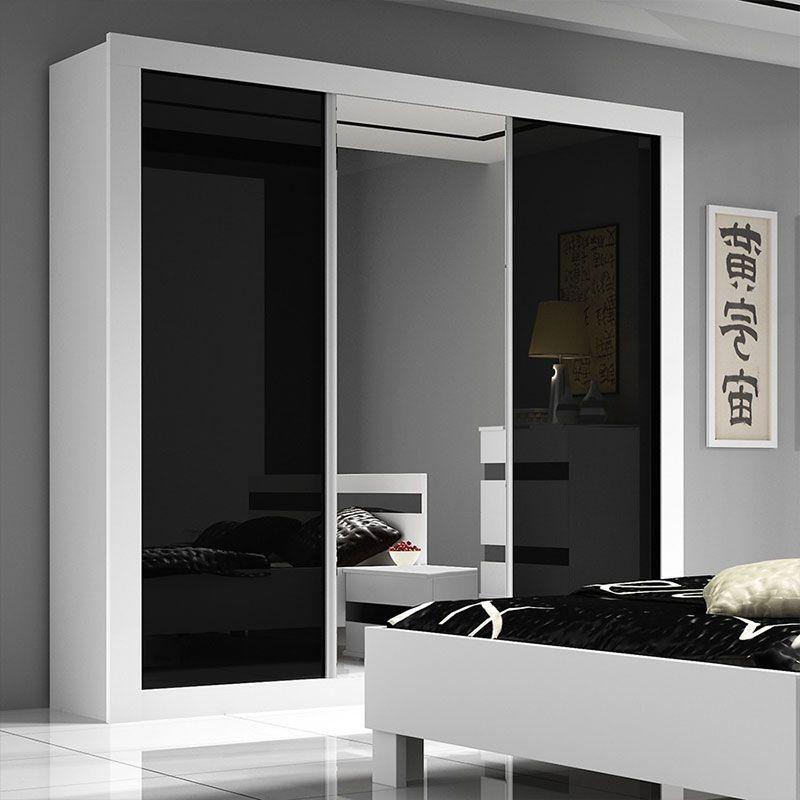 Armoire noire et blanche design RIMMEL | Meubles chambre adulte ...