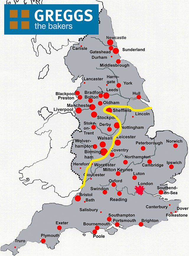 Map Of England North.Greggs Map Of England North And South Divide Kultur United