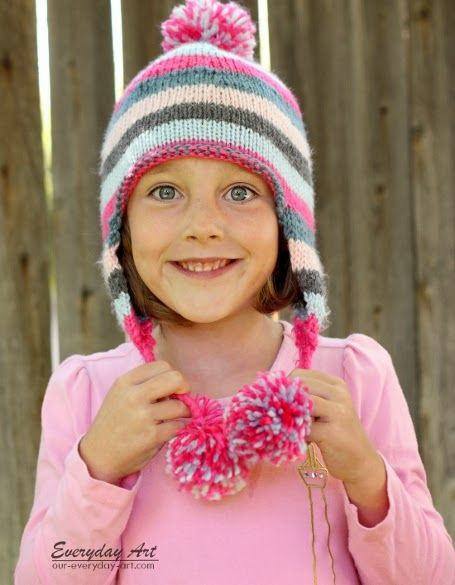 2e5b5a4257e Everyday Art  Children s Knit Ear Flap Hat Pattern-free!