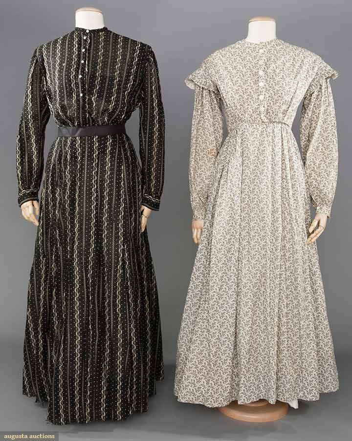 81327b033a716 2 COTTON CALICO WORK DRESSES, 1860-1890 1 1860s 1-piece white w/ brown  feathery print, piped & cartridged pleated, 1 side seam pocket, B 34