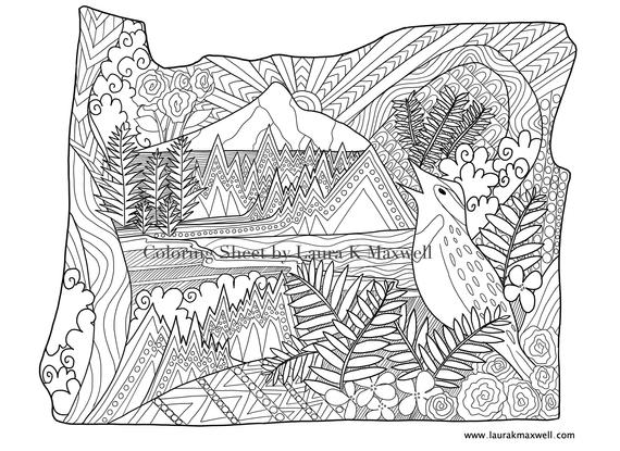 Oregon Coloring Sheet For Adults And Kids 11x8 5 Oregon Coloring