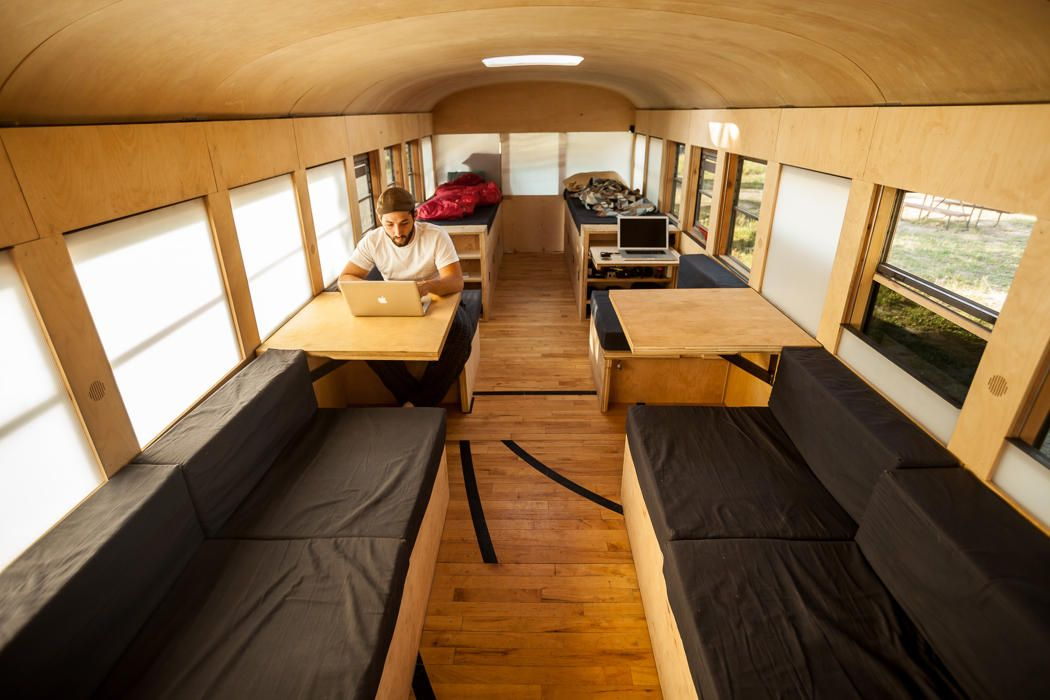 Student converts old school bus into amazing motor home