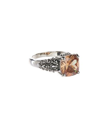 Look what I found on #zulily! Champagne & Silvertone Cubic Zirconia Square Cocktail Ring #zulilyfinds