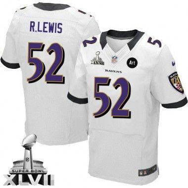 a10a7e6c9 ... Mens Nike Baltimore Ravens 52 Ray Lewis Elite White Super Bowl XLVII NFL  Jersey ...